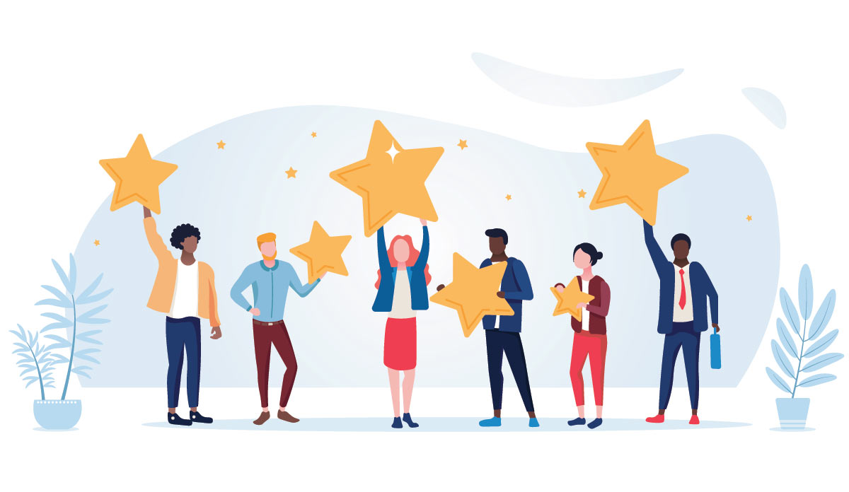 people holding review stars